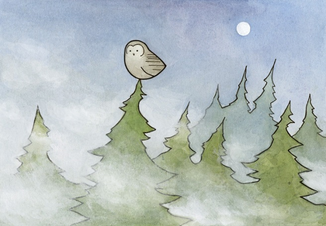 owl and fog