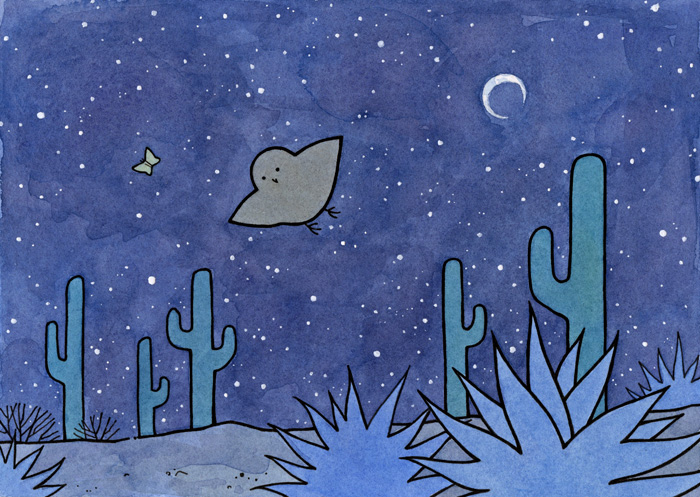 Shooting Star Night sky Three wise owls Owls Hand drawn Wish upon a star Prints Starry night Christmas cards Postcards Christmas