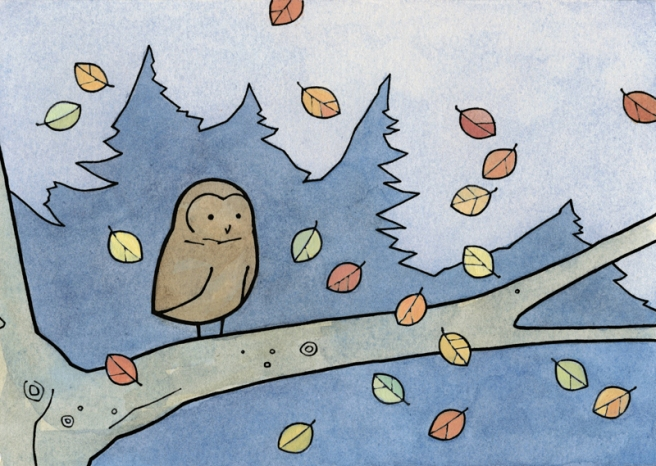 autumn owl art print