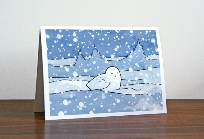 snowy owl christmas card