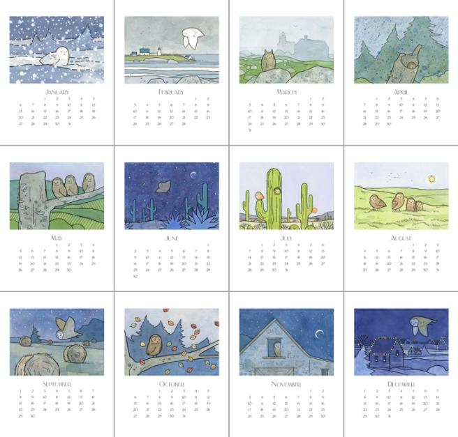 2013 owl art calendar