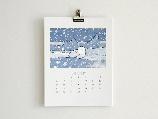 illustrated owl calendar 2013