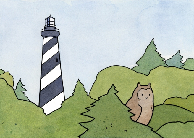 owl and lighthouse