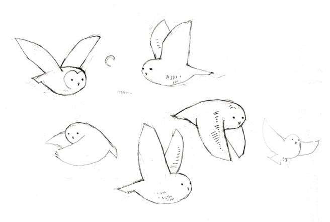flying owls doodle
