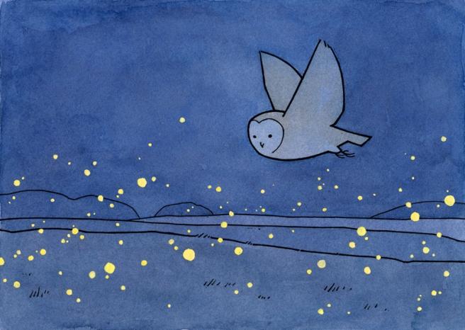 owl fireflies art