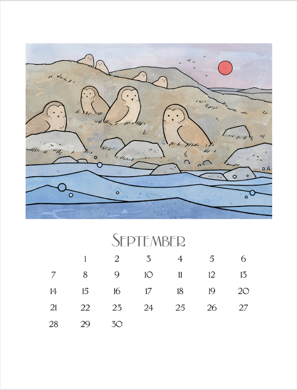 owl illustration calendar