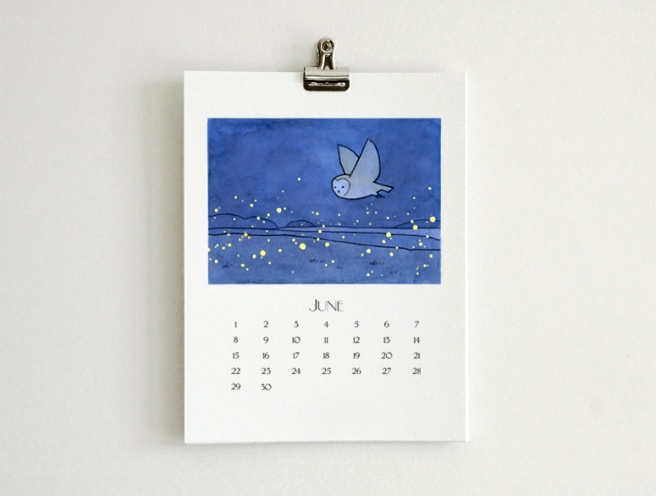 owl calendar illustrated