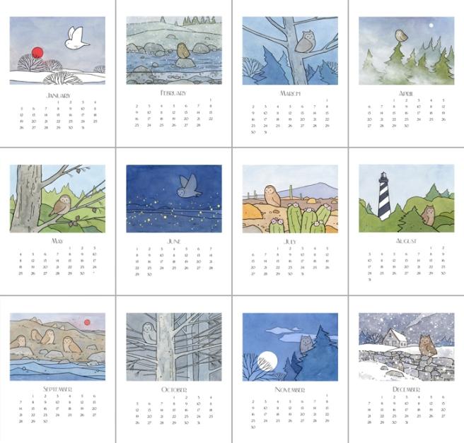2014 owl art calendar
