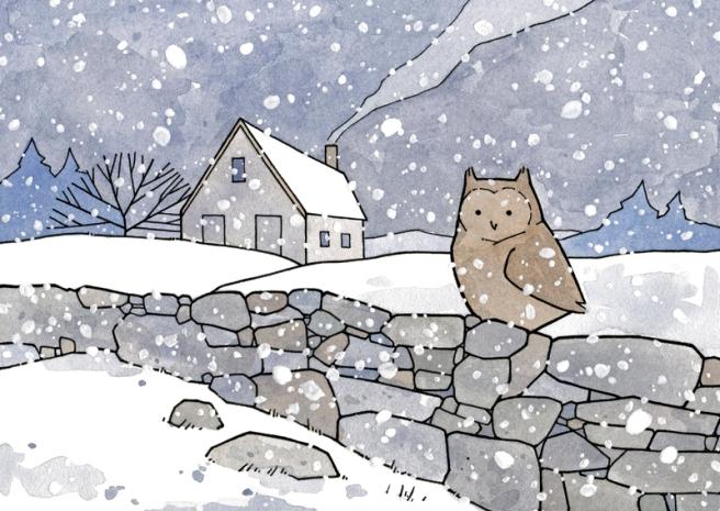 owl farmhouse illustration