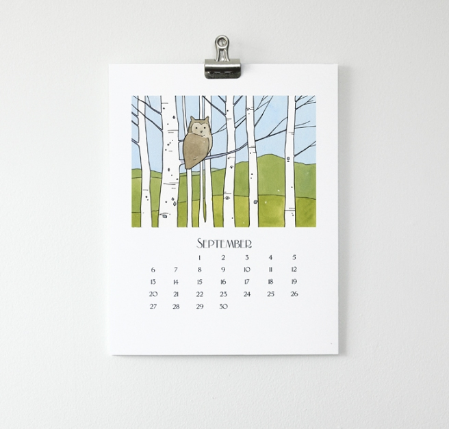owl wall calendar 2015