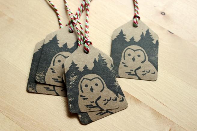 owl holiday tags