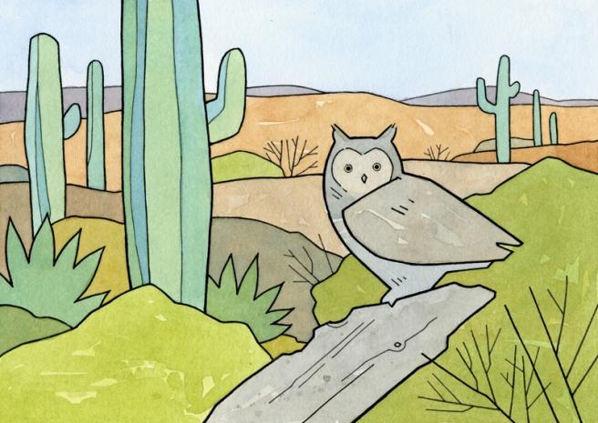desert great horned owl art